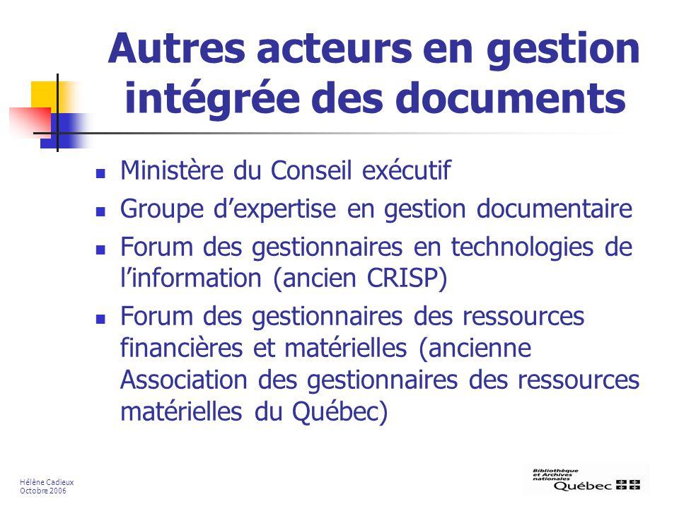 Autres acteurs en gestion intégrée des documents