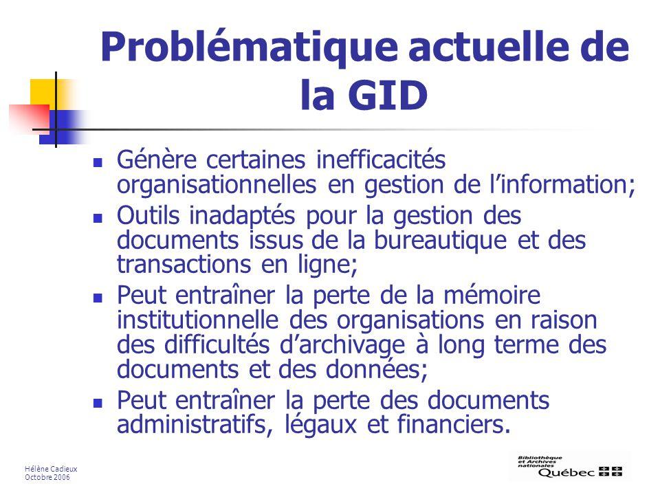 Problématique actuelle de la GID