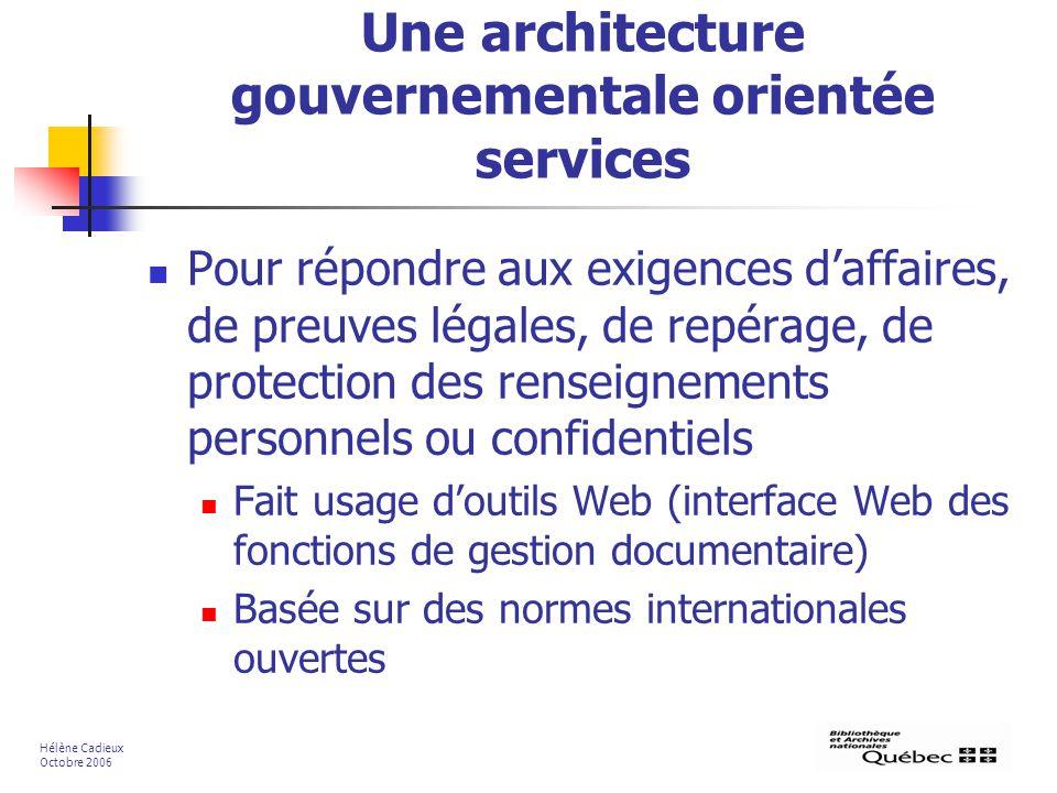 Une architecture gouvernementale orientée services