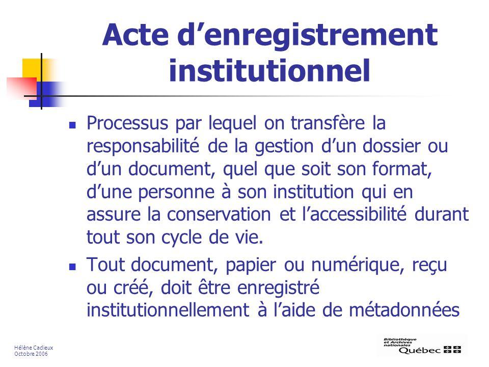Acte d'enregistrement institutionnel