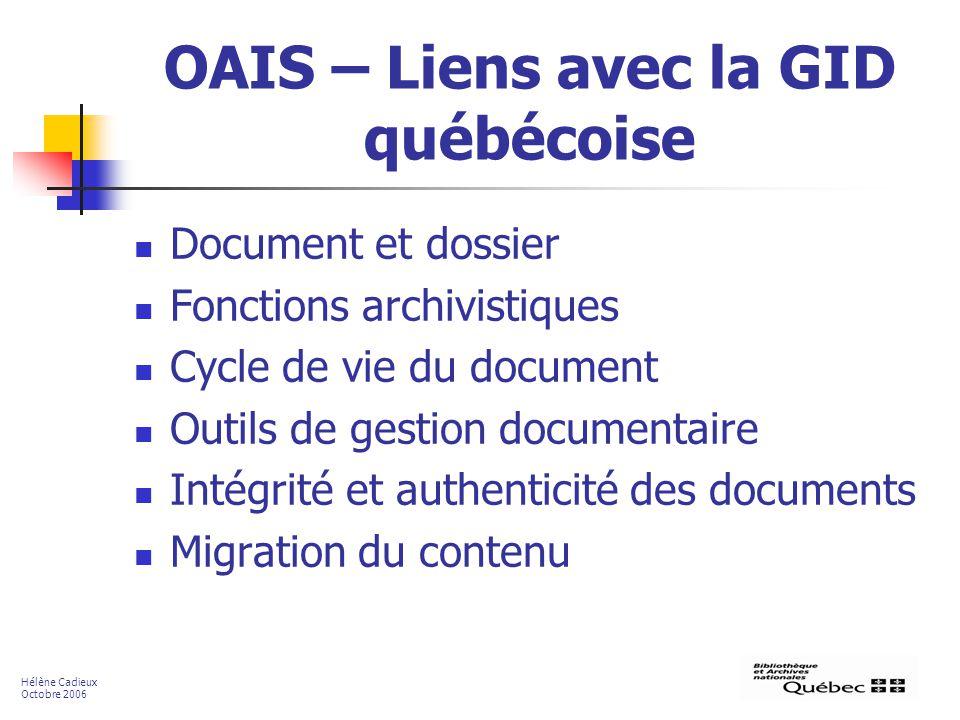 OAIS – Liens avec la GID québécoise