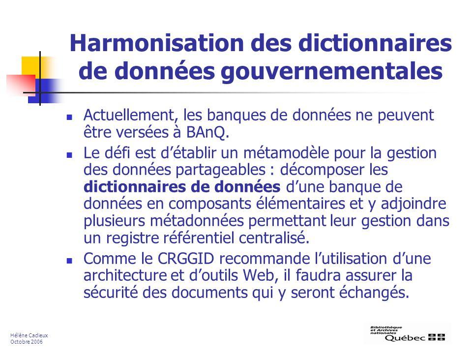 Harmonisation des dictionnaires de données gouvernementales