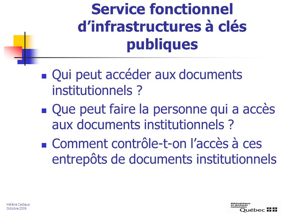 Service fonctionnel d'infrastructures à clés publiques