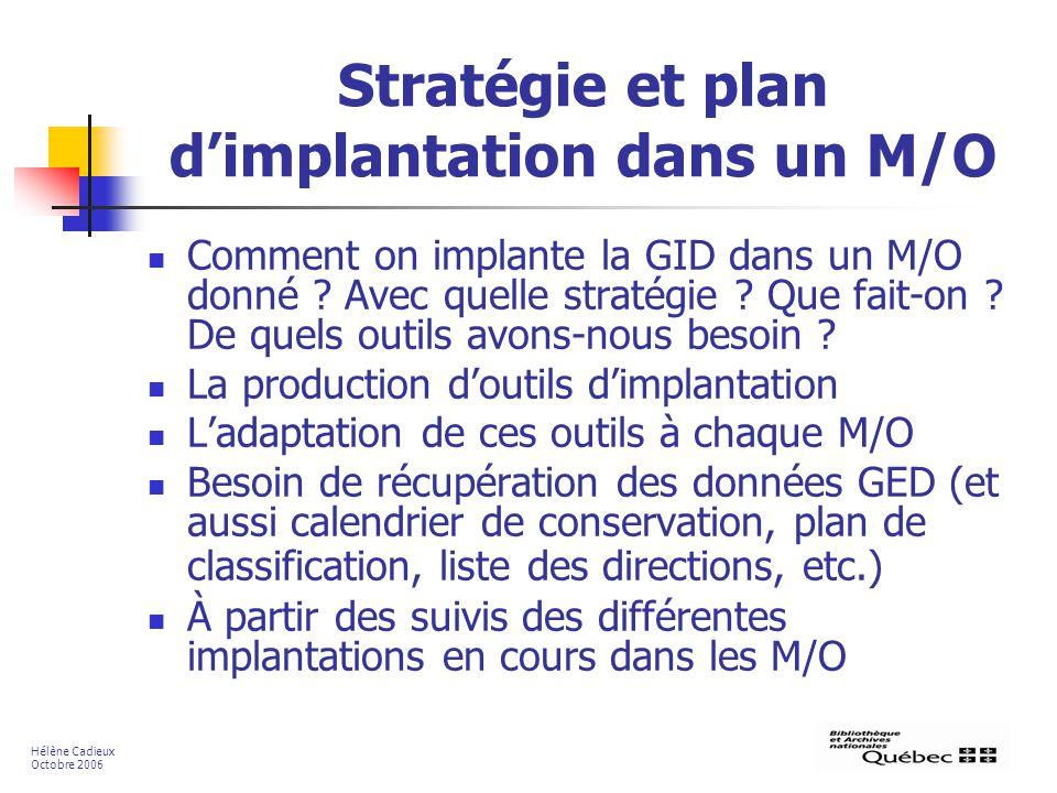 Stratégie et plan d'implantation dans un M/O