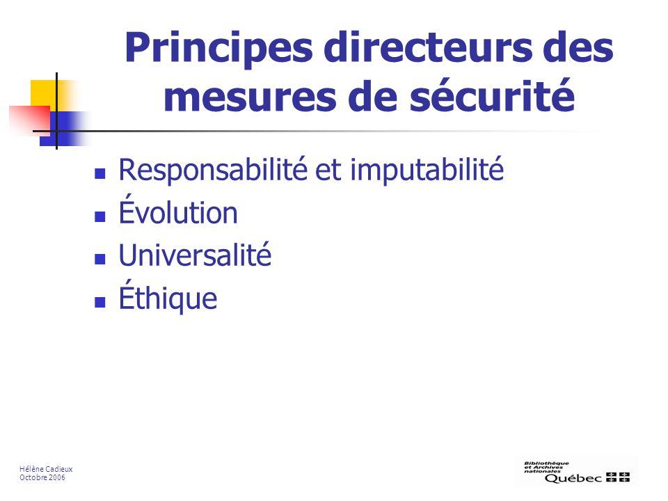Principes directeurs des mesures de sécurité