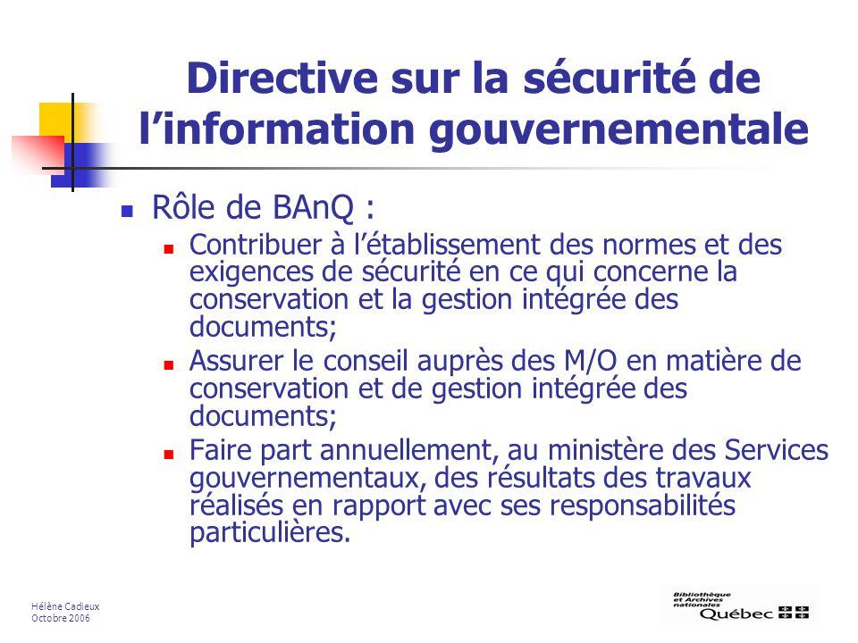 Directive sur la sécurité de l'information gouvernementale