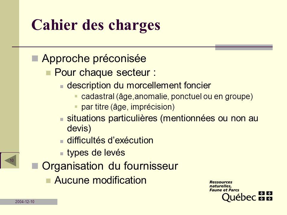Cahier des charges Approche préconisée Organisation du fournisseur