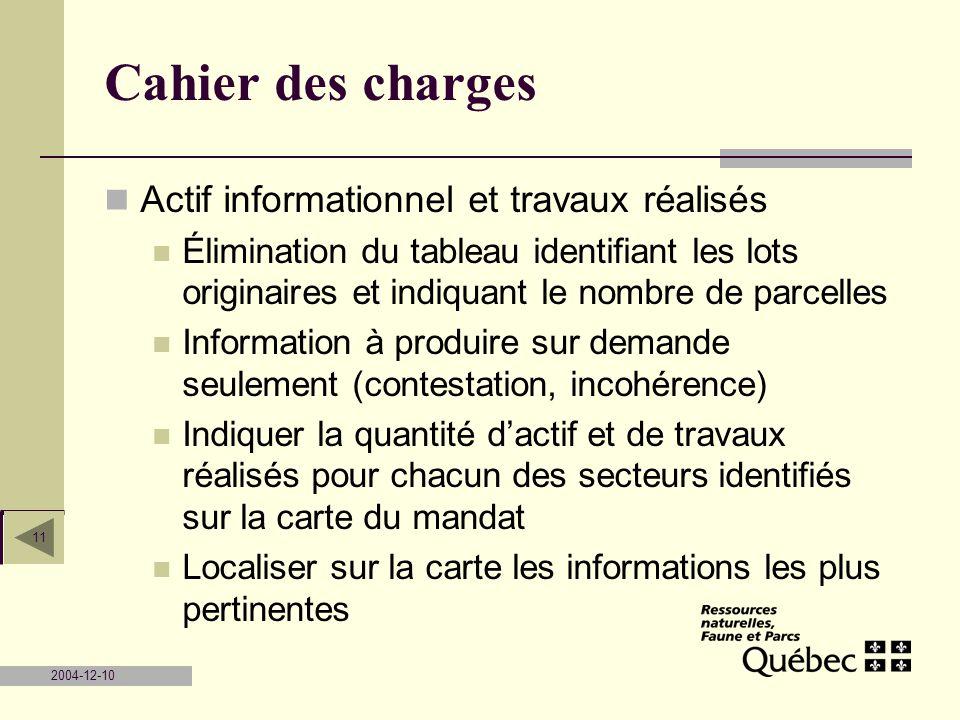 Cahier des charges Actif informationnel et travaux réalisés