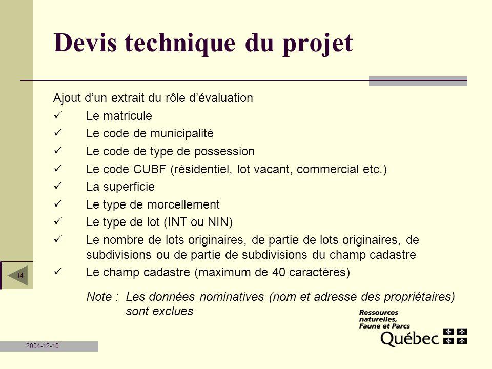 Devis technique du projet