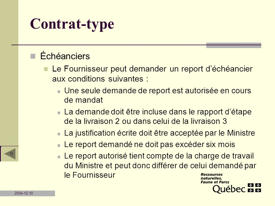 Contrat-type Échéanciers