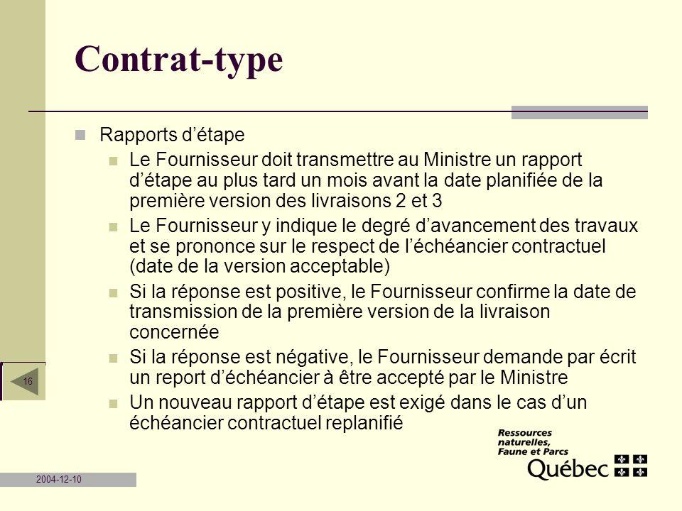Contrat-type Rapports d'étape
