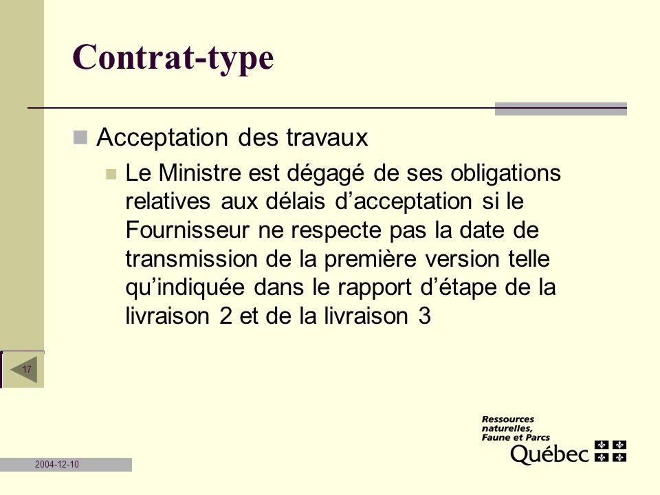 Contrat-type Acceptation des travaux