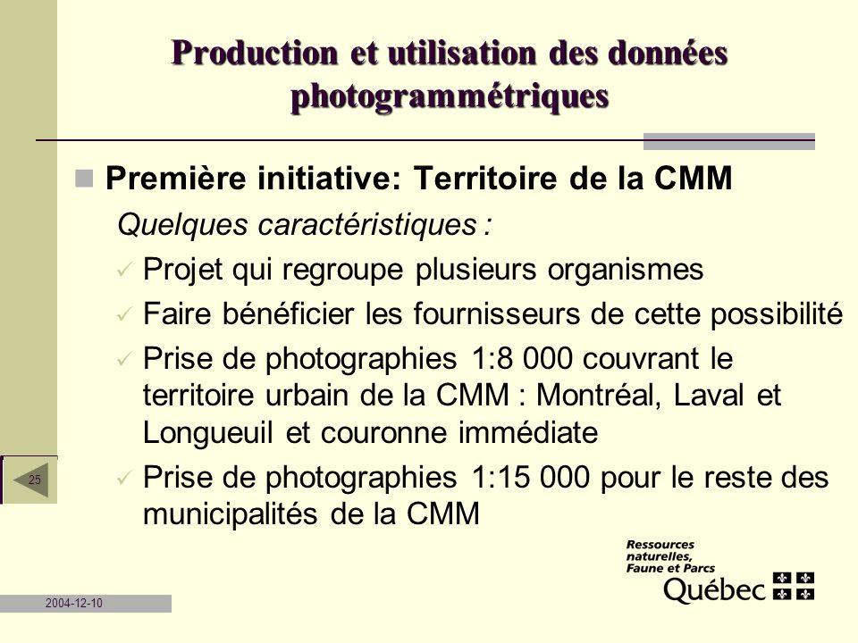 Production et utilisation des données photogrammétriques