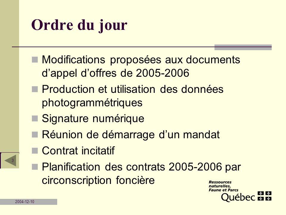 Ordre du jour Modifications proposées aux documents d'appel d'offres de 2005-2006. Production et utilisation des données photogrammétriques.