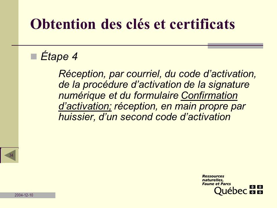 Obtention des clés et certificats