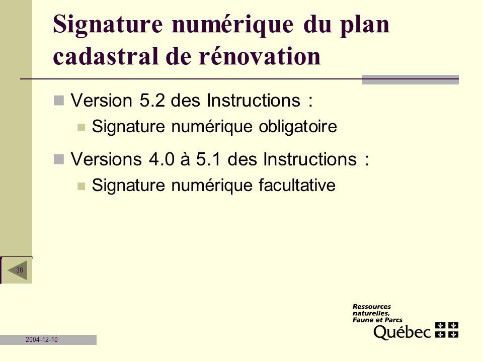 Signature numérique du plan cadastral de rénovation