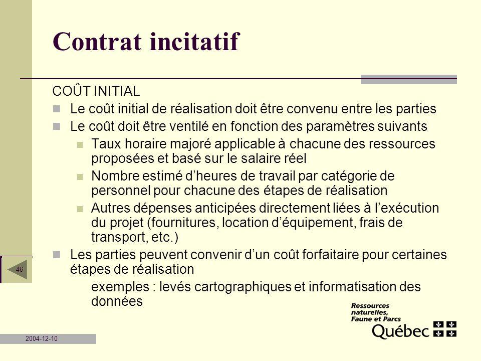 Contrat incitatif COÛT INITIAL