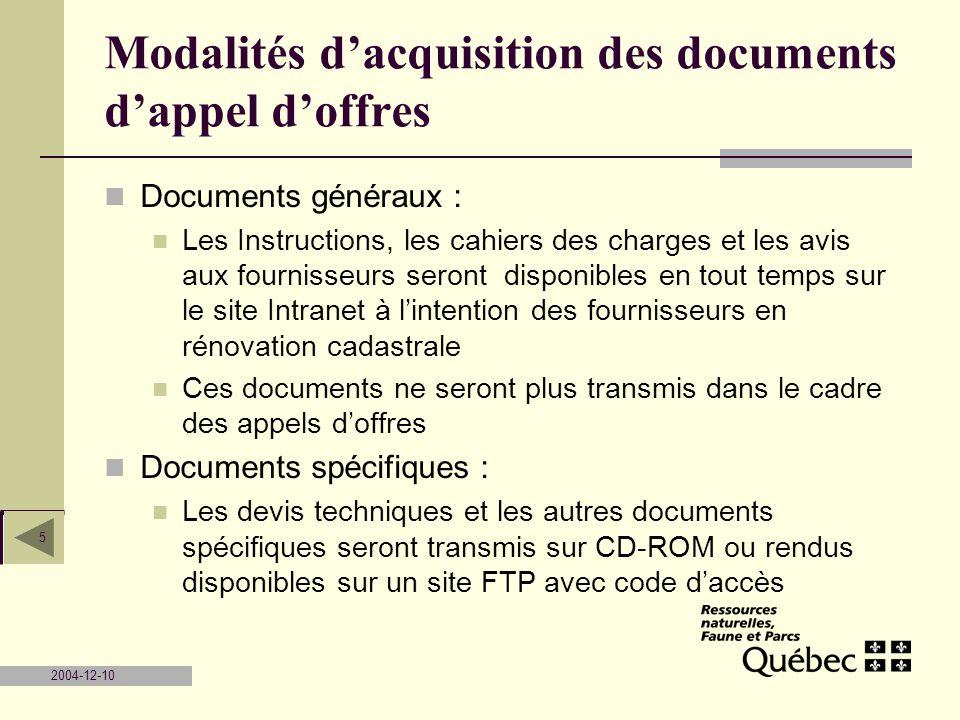 Modalités d'acquisition des documents d'appel d'offres