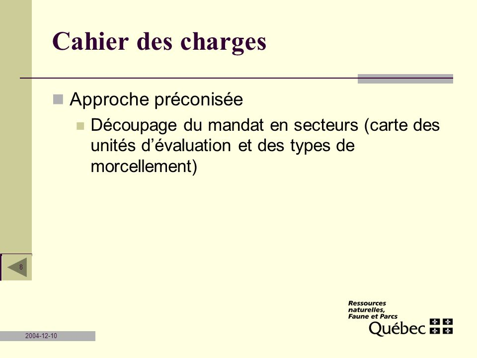 Cahier des charges Approche préconisée