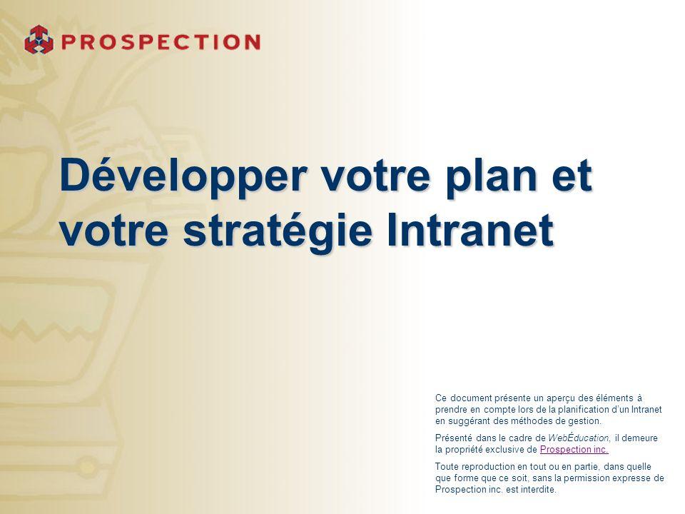 Développer votre plan et votre stratégie Intranet