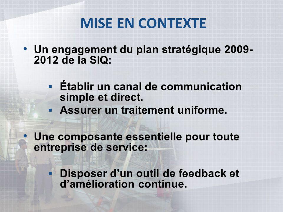 MISE EN CONTEXTE Un engagement du plan stratégique 2009-2012 de la SIQ: Établir un canal de communication simple et direct.