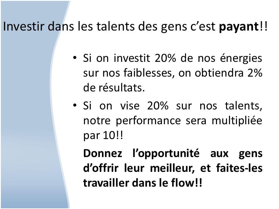 Investir dans les talents des gens c'est payant!!