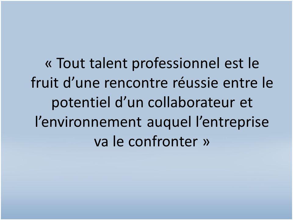 « Tout talent professionnel est le fruit d'une rencontre réussie entre le potentiel d'un collaborateur et l'environnement auquel l'entreprise va le confronter »
