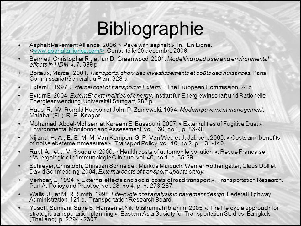 Bibliographie Asphalt Pavement Alliance. 2006. « Pave with asphalt ». In. En Ligne. <www.asphaltalliance.com/>. Consulté le 29 décembre 2006.
