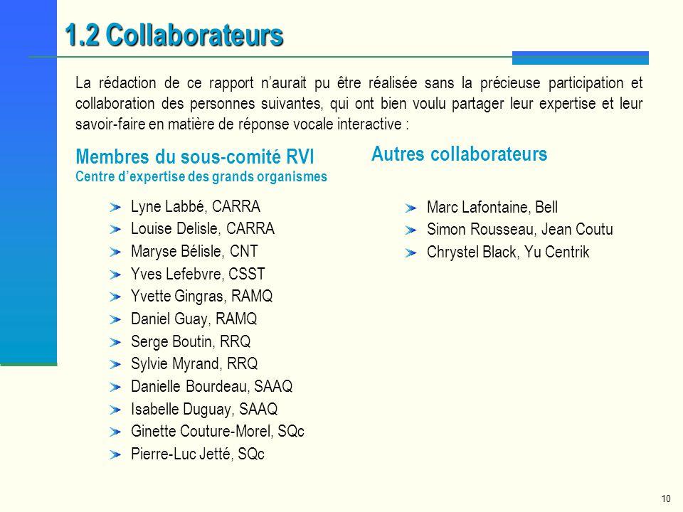1.2 Collaborateurs Autres collaborateurs Membres du sous-comité RVI