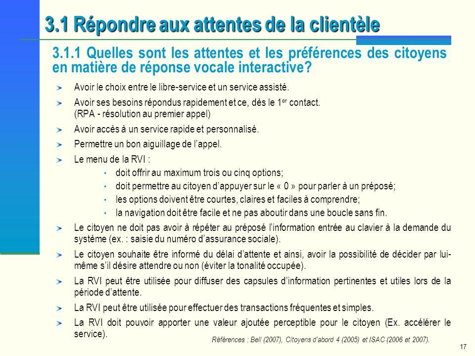 3.1 Répondre aux attentes de la clientèle