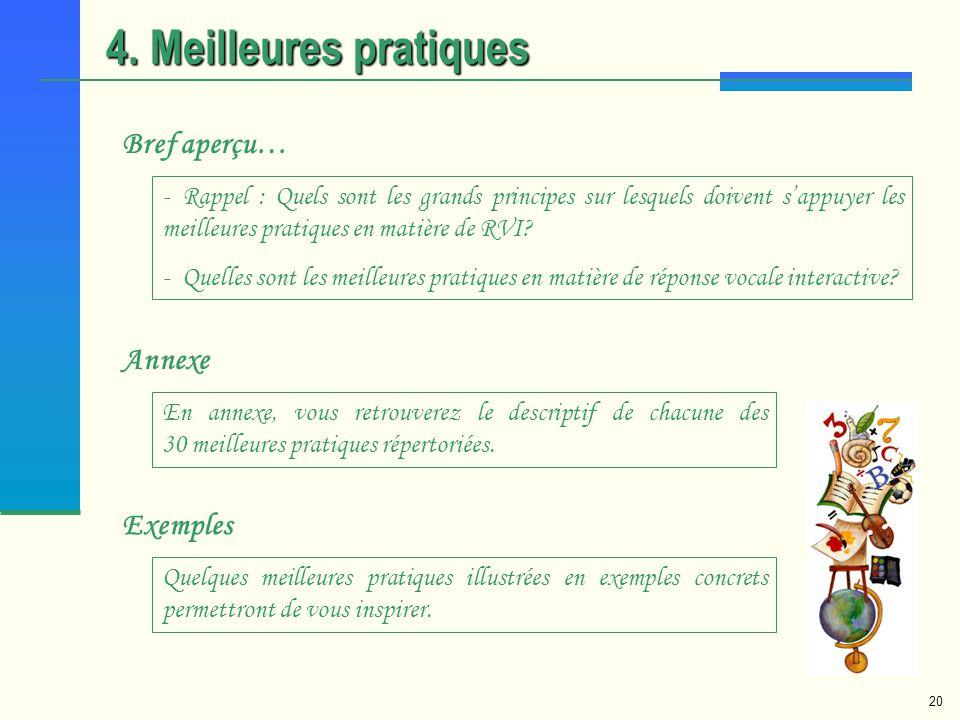 4. Meilleures pratiques Bref aperçu… Annexe Exemples