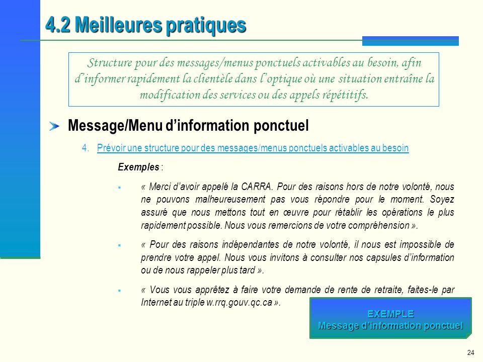 EXEMPLE Message d'information ponctuel