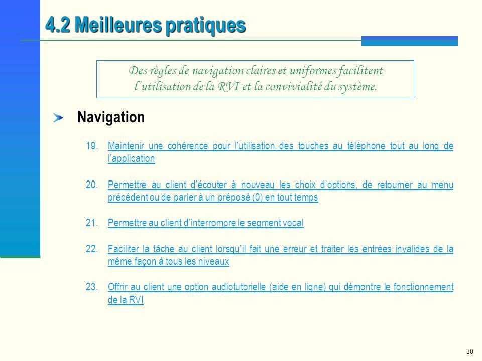 4.2 Meilleures pratiques Navigation