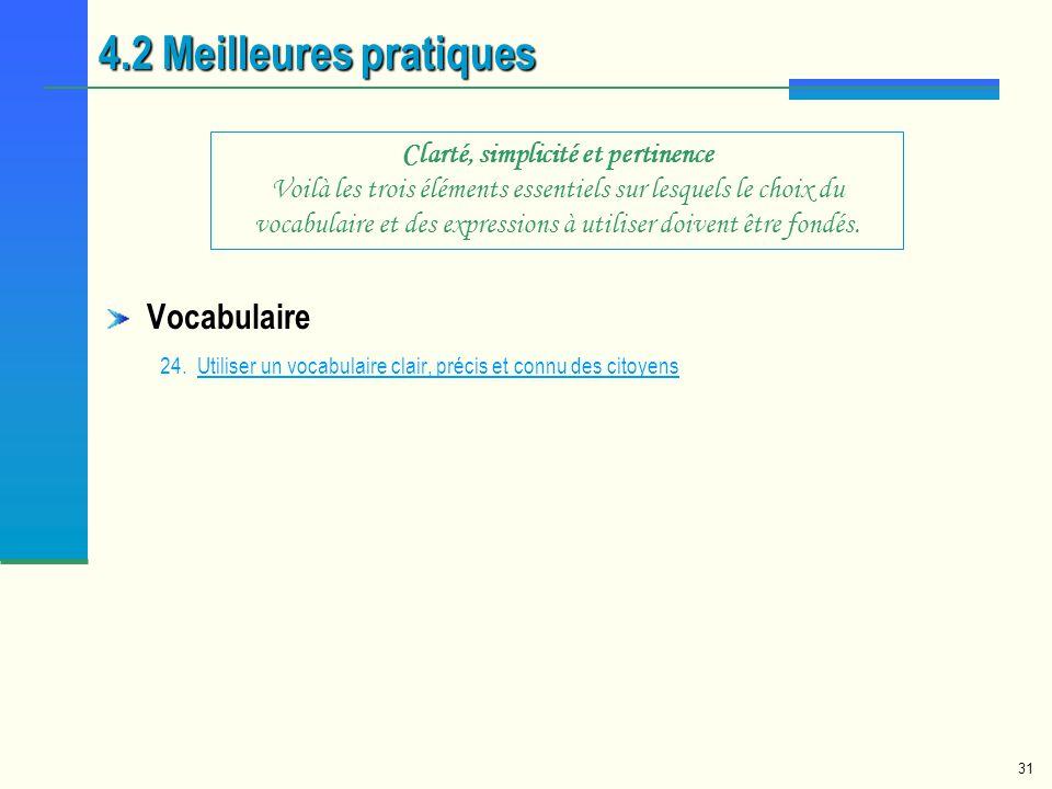 4.2 Meilleures pratiques Vocabulaire