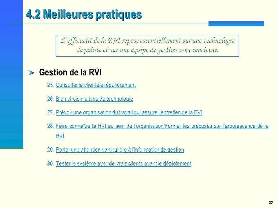 4.2 Meilleures pratiques Gestion de la RVI