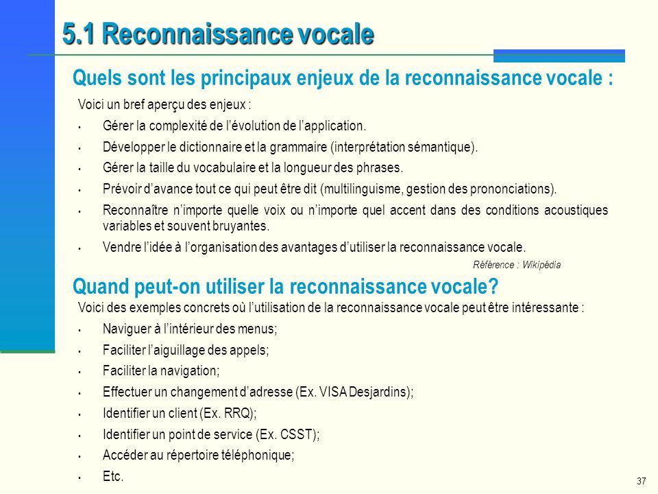 5.1 Reconnaissance vocale