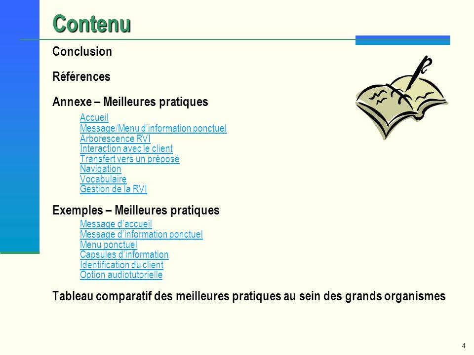 Contenu Accueil Message/Menu d'information ponctuel Conclusion