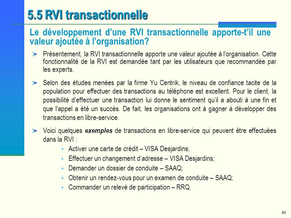 5.5 RVI transactionnelle Le développement d'une RVI transactionnelle apporte-t'il une valeur ajoutée à l'organisation
