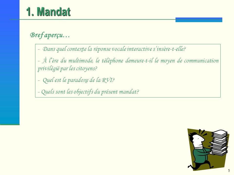 1. Mandat Bref aperçu… Dans quel contexte la réponse vocale interactive s'insère-t-elle