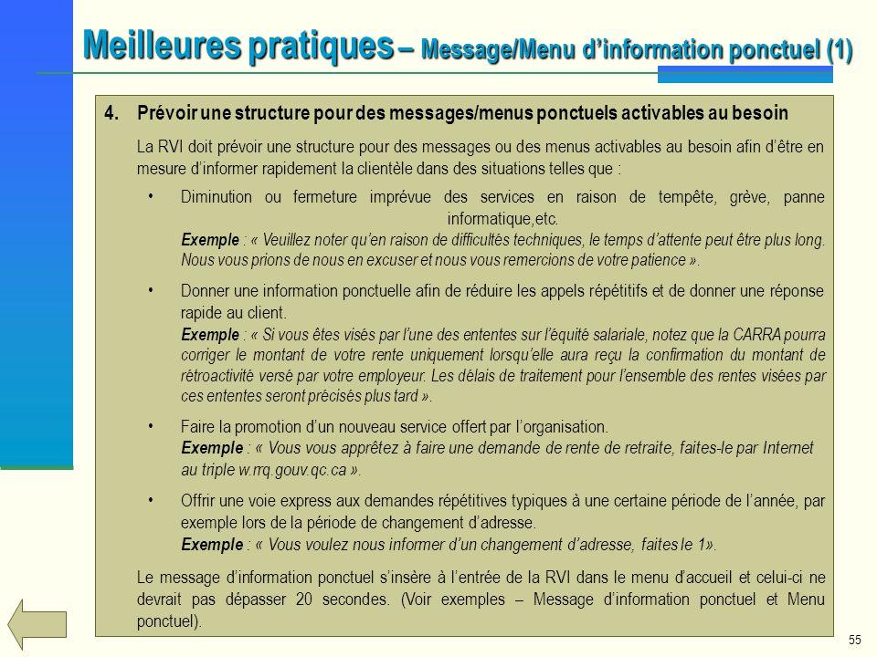 Meilleures pratiques – Message/Menu d'information ponctuel (1)