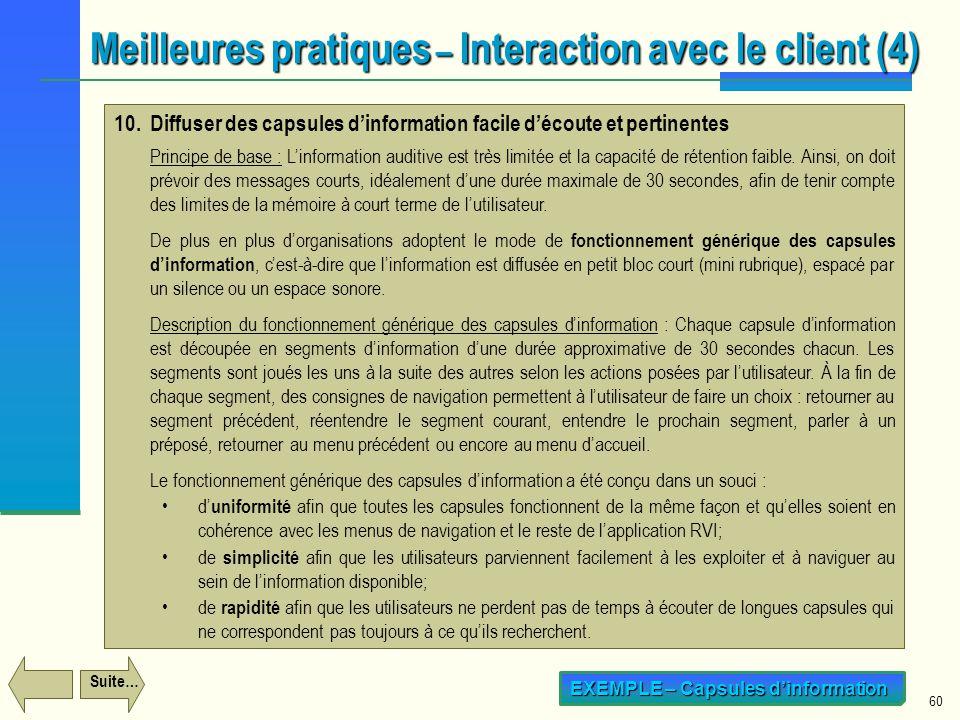 Meilleures pratiques – Interaction avec le client (4)