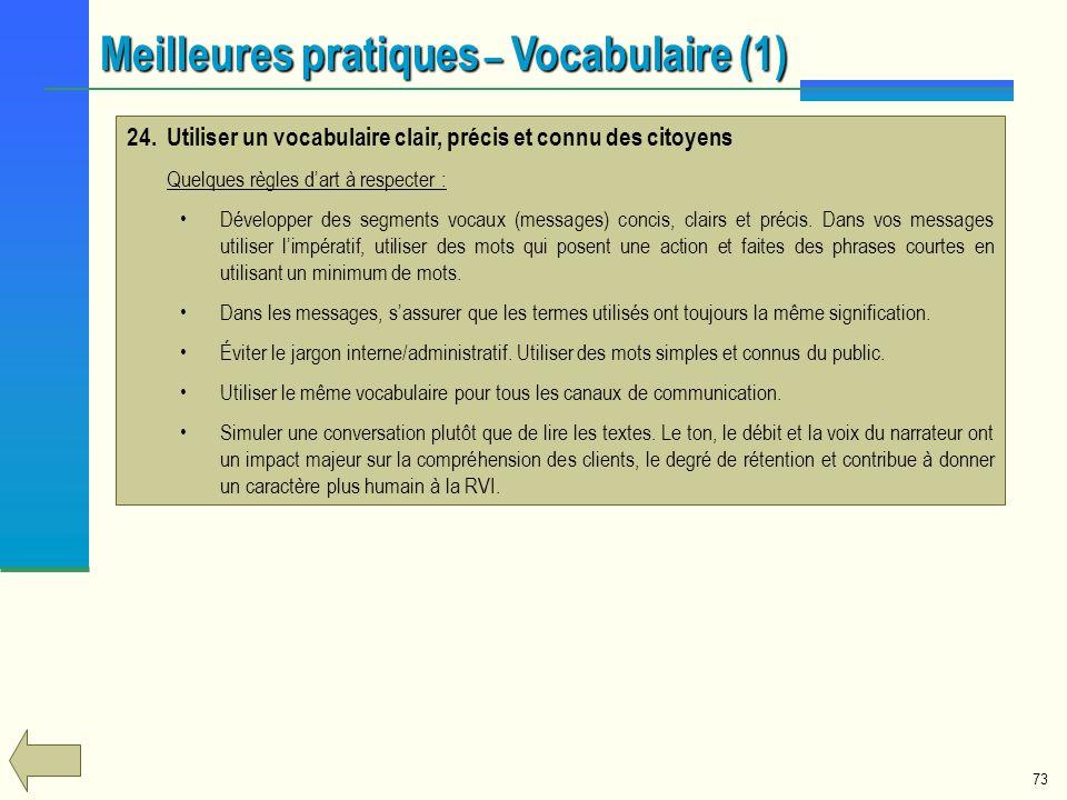 Meilleures pratiques – Vocabulaire (1)