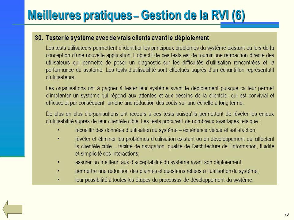 Meilleures pratiques – Gestion de la RVI (6)