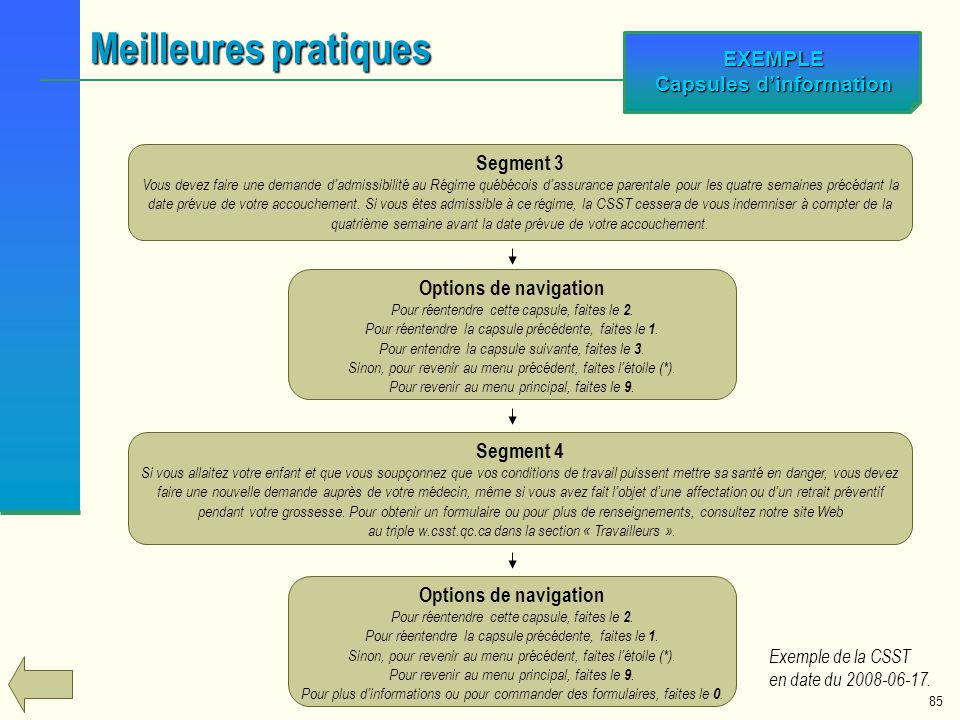 EXEMPLE Capsules d'information
