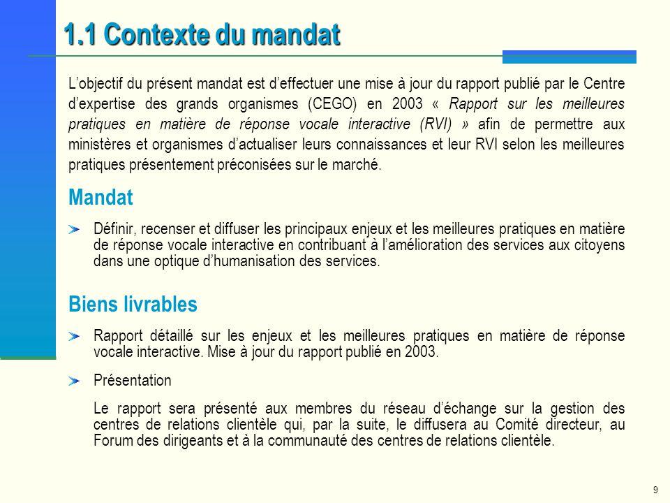 1.1 Contexte du mandat Mandat Biens livrables