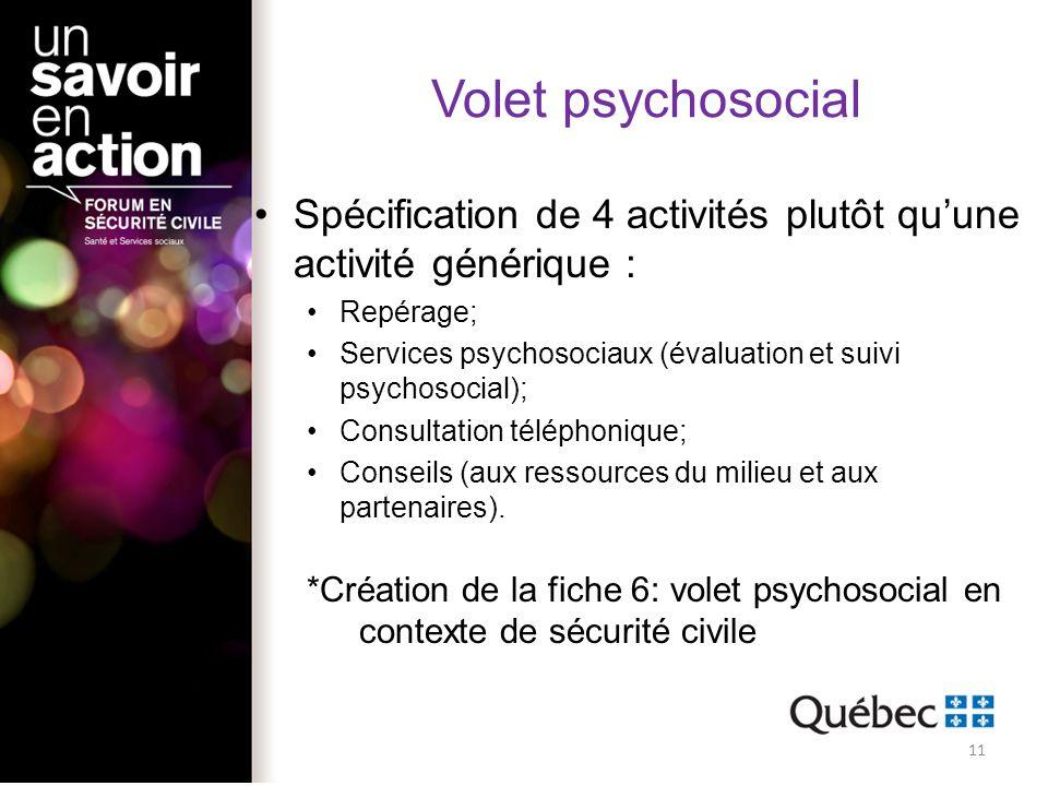 Volet psychosocial Spécification de 4 activités plutôt qu'une activité générique : Repérage;