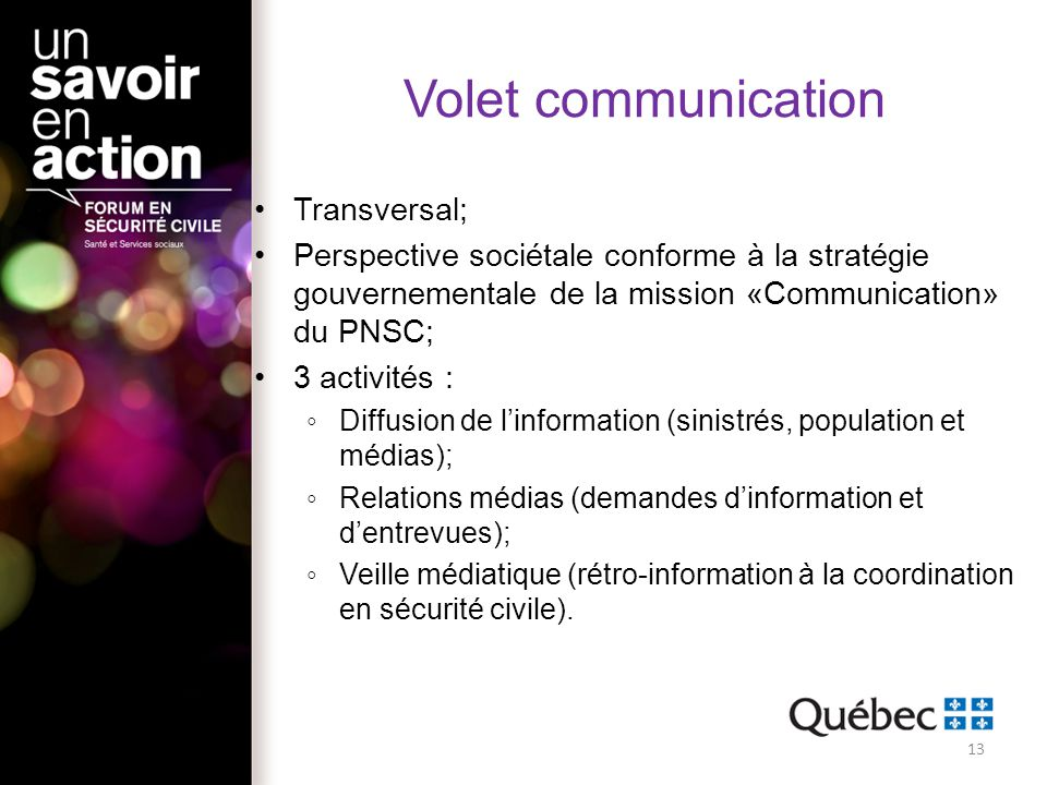 Volet communication Transversal;