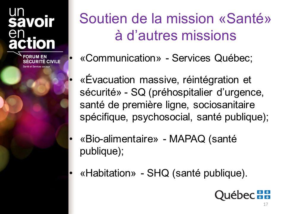 Soutien de la mission «Santé» à d'autres missions