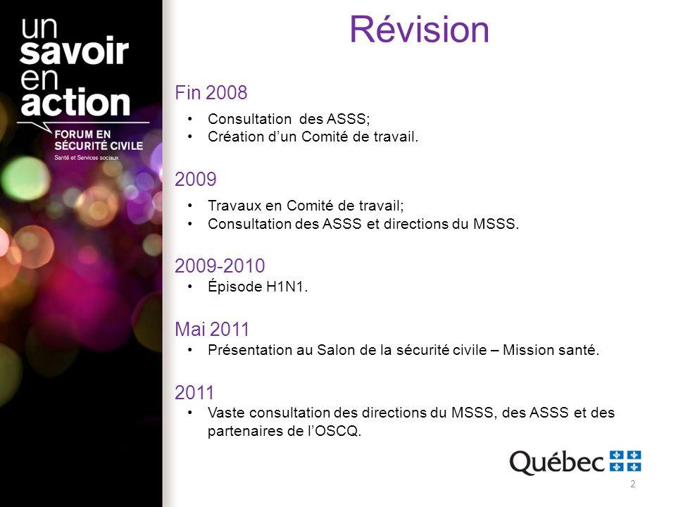 Révision Fin 2008 2009 2009-2010 Mai 2011 2011 Consultation des ASSS;