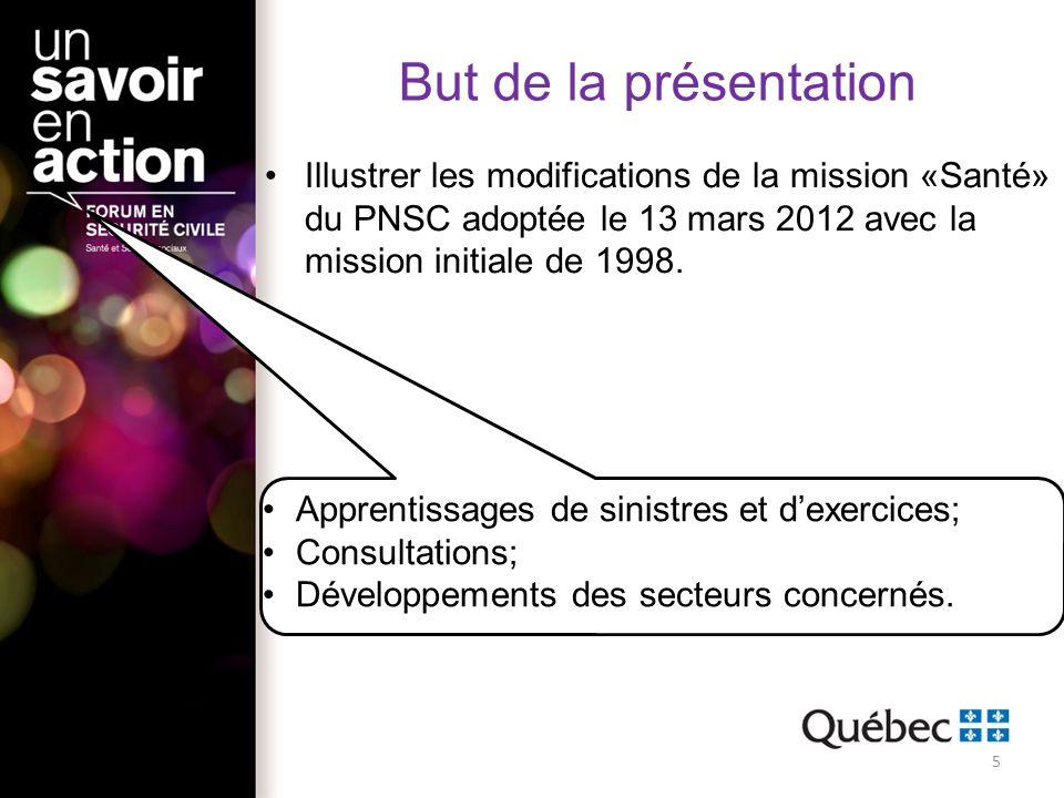 But de la présentation Illustrer les modifications de la mission «Santé» du PNSC adoptée le 13 mars 2012 avec la mission initiale de 1998.